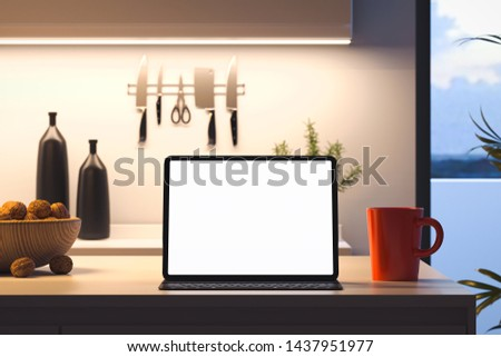 Tablet computer with blank screen on kitchen table. 3D illustrat Stock photo © Kirill_M
