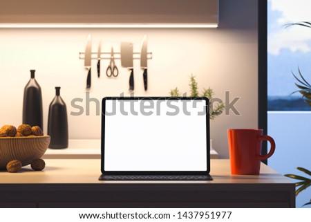 tabletta · konyhaasztal · törölköző · főzés · kellékek · fából · készült - stock fotó © kirill_m