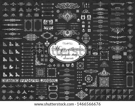 Decorative calligraphic corners for design on a chalkboard background - vector set Stock photo © blue-pen