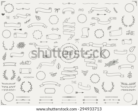 Large collection of ornate calligraphic design elements - vector set Stock photo © blue-pen