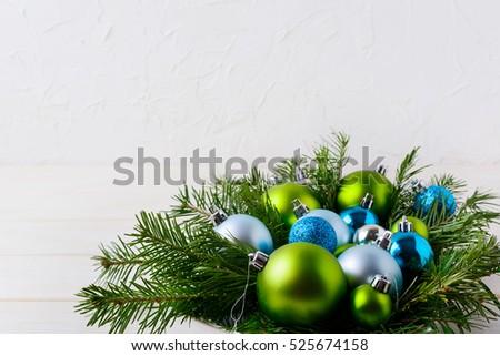 Karácsony asztal világoskék zöld díszek ebédlőasztal Stock fotó © TasiPas