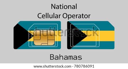 The Bahamas mobile operator. SIM card with flag. Vector illustration. Stock photo © Leo_Edition