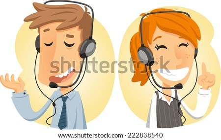 Customer service call center operator on duty .Man customer serv Stock photo © NikoDzhi