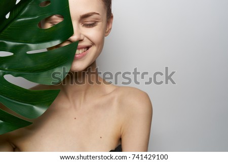 Woman perfect face with towel. Skin beauty spa skincare concept. Stock photo © NikoDzhi