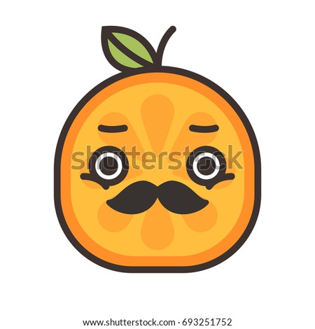 Emoji - gentleman orange smile with mustache and monocle. Isolated vector. Stock photo © RAStudio