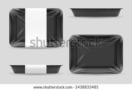 Styrofoam Food Tray Vector. White Empty Blank. Realistic Illustration. Stock photo © pikepicture