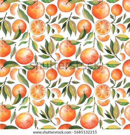 Narancs végtelen minta mandarin citrus végtelen textúra Stock fotó © lucia_fox