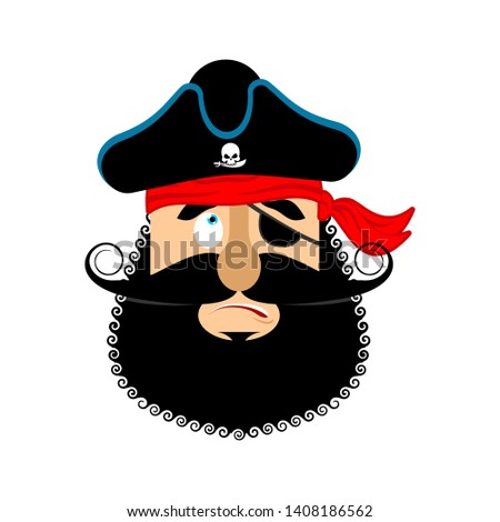 Pirate guilty emoji head. Filibuster culpable emotion face. Bucc Stock photo © popaukropa