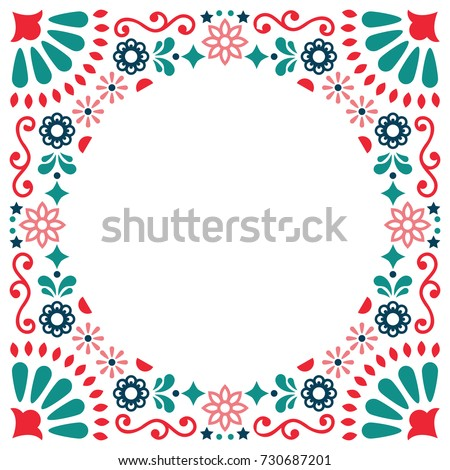 Mexican folk vector wedding or party invitation, greeting card, colorful frame design with flowers a Stock photo © RedKoala