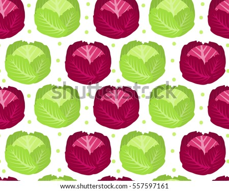Cabbage seamless pattern. Red cabbage endless background, texture. Vegetable background. Vector illu Stock photo © lucia_fox