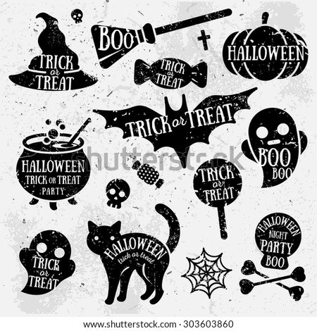 Set of halloween silhouette badges. Vintage hand drawn Halloween party logo design for celebrating h Stock photo © JeksonGraphics