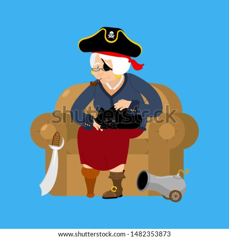 Grandmother pirate. Old buccaneer and cat. grandma on chair. Sab Stock photo © popaukropa
