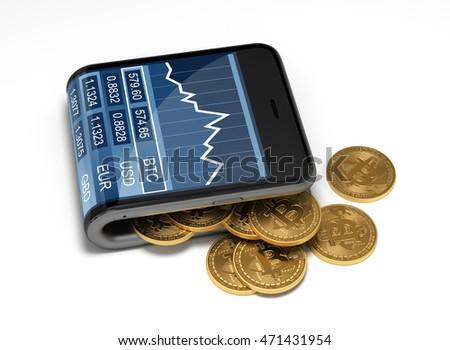 Bitcoin telefono valuta virtuale soldi Foto d'archivio © MaryValery