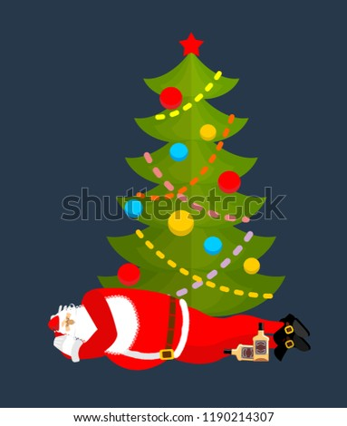 santa claus sleeping under christmas tree drinking whiskey drun stock photo © popaukropa