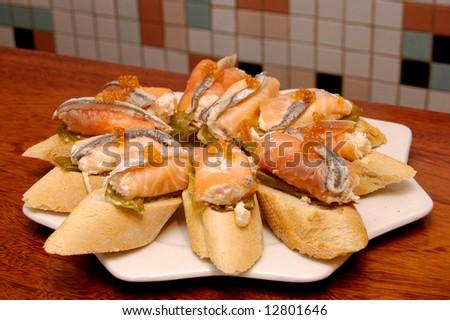 típico · salmão · Espanha · comida · peixe · verde - foto stock © Photooiasson