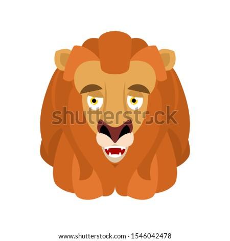 Lion happy emoji avatar. Wild animal merry emotion. Joyful beast Stock photo © popaukropa