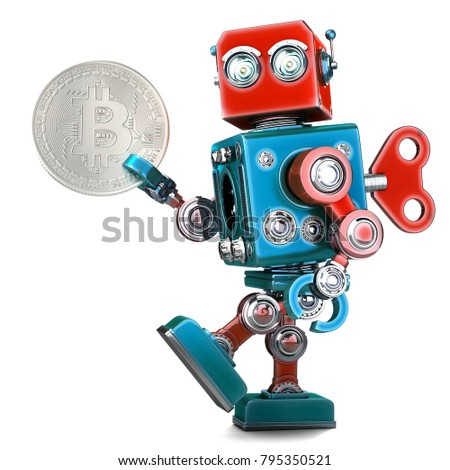 Retro Robot holding bitcoin coin. 3D illustration. Isolated. Con Stock photo © Kirill_M