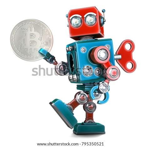retro robot holding bitcoin coin 3d illustration isolated con stock photo © kirill_m