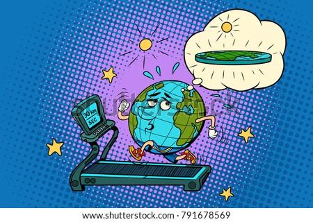 sad Fat Earth on the treadmill. Dream to lose weight. Sport fitn Stock photo © rogistok