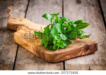 Fresh organic parsley on wooden cutting board. Macro with shallow dof Stock photo © Virgin