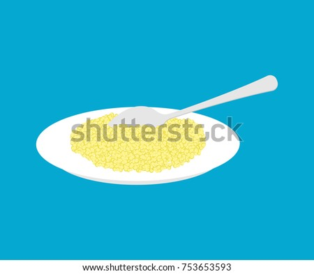 bowl of couscous porridge and spoon isolated healthy food for b stock photo © maryvalery