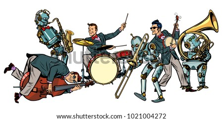 futuristic jazz orchestra of humans and robots, isolated on whit Stock photo © studiostoks