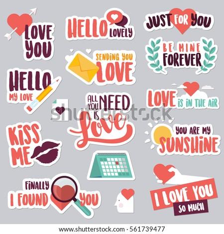 Dia dos namorados adesivos amor ícones vetor Foto stock © ikopylov