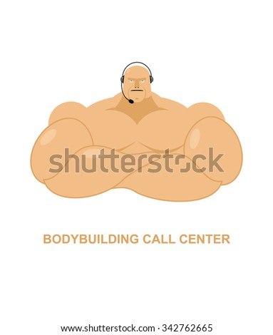 Bodybuilding call Center. Athlete with  headset Man with big mus Stock photo © popaukropa