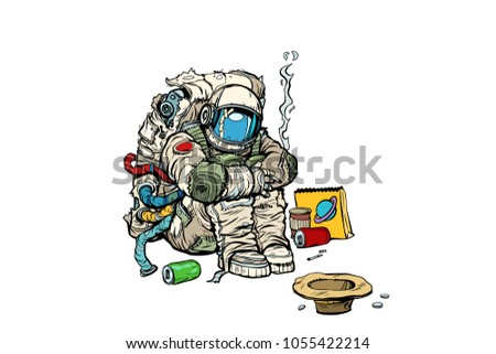 crowdfunding concept a poor homeless astronaut asks for money stock photo © studiostoks