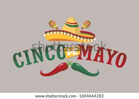 Cinco de Mayo. Black sombrero hat and lettering text for greeting card Stock photo © orensila
