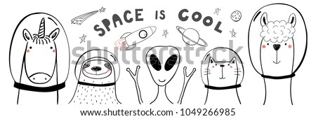 Astronaut and alien friends on a white background. Vector illust Stock photo © popaukropa