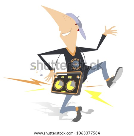 Cartoon dancing man with portable audio system turn the volume up full blast isolated illustration   Stock photo © tiKkraf69