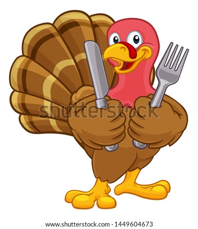 happy turkey bird cartoon mascot character holding a happy thanksgiving sale sign stock photo © hittoon