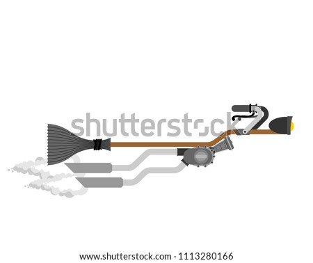 Stock photo: Witch on racing broom. Broomstick Speeding turbo. Halloween Vect
