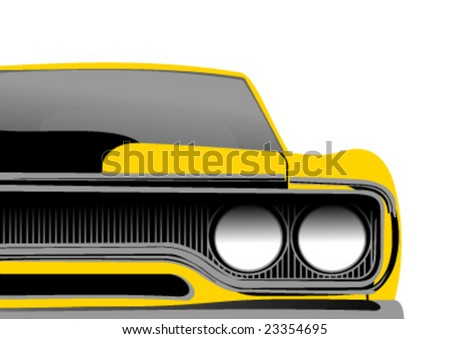 classic seventies style american convertible muscle car cartoon vector illustration stock photo © jeff_hobrath