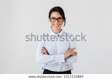Portrait of pretty adult woman 30s wearing office clothing holdi Stock photo © deandrobot