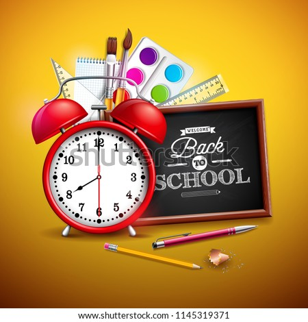Back to school design with graphite pencil, pen and other school items on yellow background. Vector  Stock photo © articular