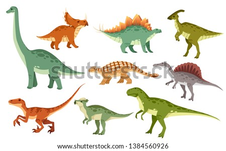 Dinosaur Set. Ancient animal. Diplodocus and Stegosaurus, Pteros Stock photo © MaryValery