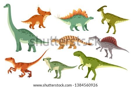 dinossauro · coleção · branco · sorrir · pássaro · prato - foto stock © maryvalery