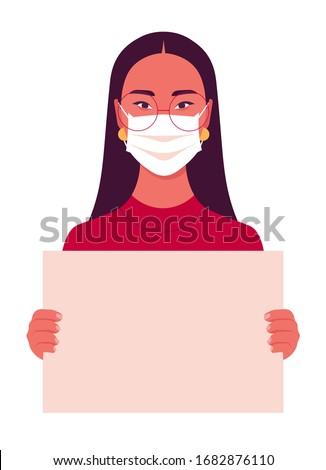 Vrouw medische masker poster witte Stockfoto © studiostoks