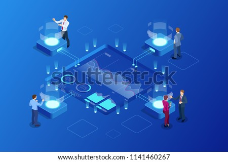 artificial intelligence analytics and research isometric flat vector concept stock photo © tarikvision