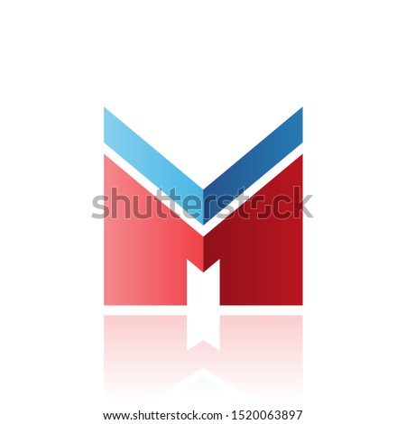 Blue and Red Letter M with a Thick Stripe and Reflection Vector  Stock photo © cidepix