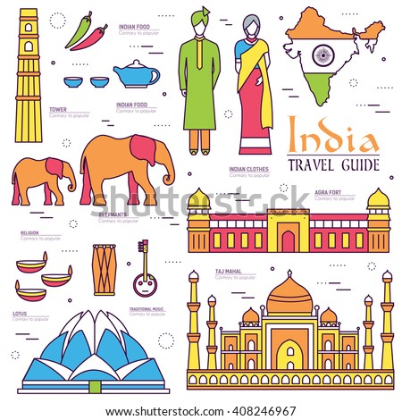 Country India travel vacation guide of goods, place and feature. Set of architecture, fashion, peopl stock photo © Linetale
