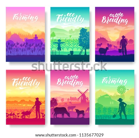 Farming life brochure cards set. Take care of the garden template of flyear, magazines, poster, book Stock photo © Linetale