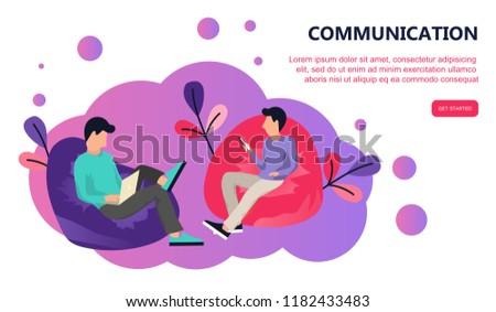 két · személy · ül · lusta · táska · kommunikáció · internet - stock fotó © makyzz