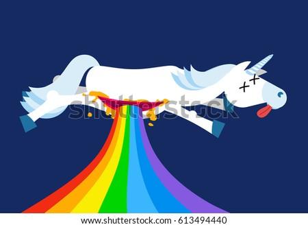 Anatomy unicorn From belly Intestines fell rainbow. Dead  Fantas Stock photo © popaukropa