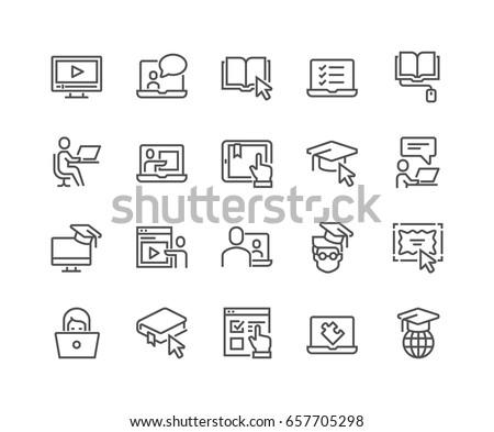 on line education training on line tutorial e learning concept flat vector illustration stock photo © makyzz