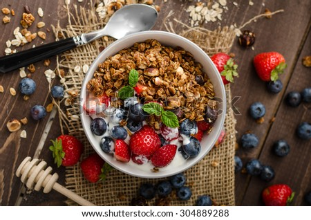 natural organic raspberry strawberry blueberry nuts oat flakes and soy milk   the set of ingredi stock photo © artjazz