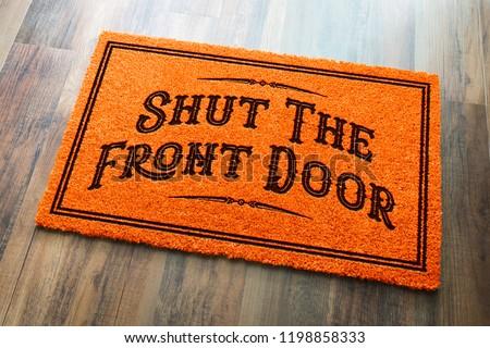 парадная дверь Хэллоуин оранжевый приветствую деревянный пол Сток-фото © feverpitch