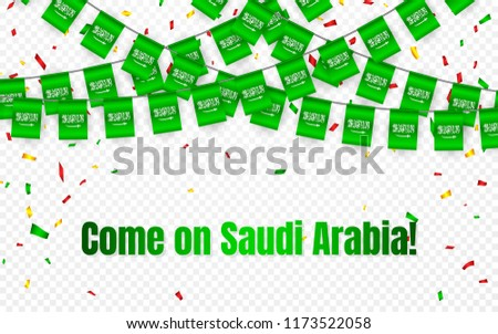 Saudi Arabia garland flag with confetti on transparent background, Hang bunting for celebration temp Stock photo © olehsvetiukha